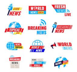 Set logos, logotypes, fresh live news broadcast, social media emblems.