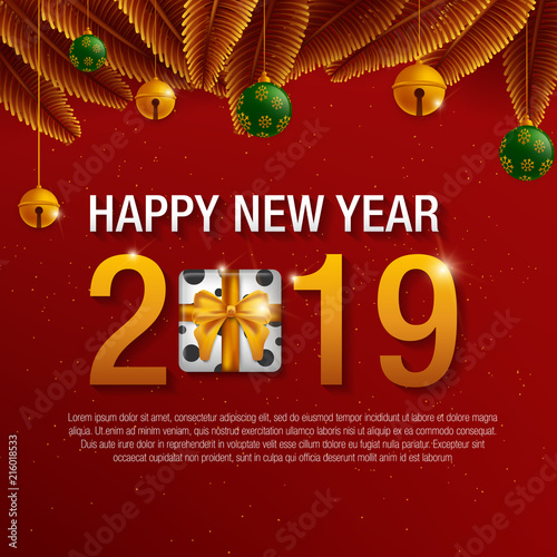 Happy New Year 2019 Background Decoration Greeting Card Design