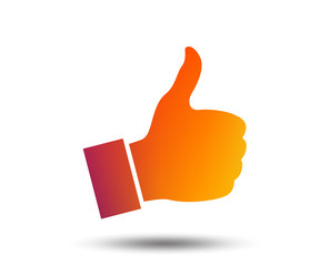 Like sign icon. Thumb up sign. Hand finger up symbol. Blurred gradient design element. Vivid graphic flat icon. Vector