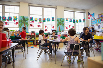 Students in a kindergarten classroom.