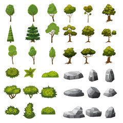 A set of stones, trees and bushes of landscape elements for the design of the garden, park, games and applications. Vector Graphics, cartoon style, isolated