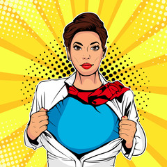 Pop art female superhero. Young sexy woman dressed in white jacket shows superhero t-shirt. Vector illustration in retro pop art comic style.