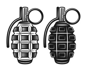 Grenade two style vector black illustration
