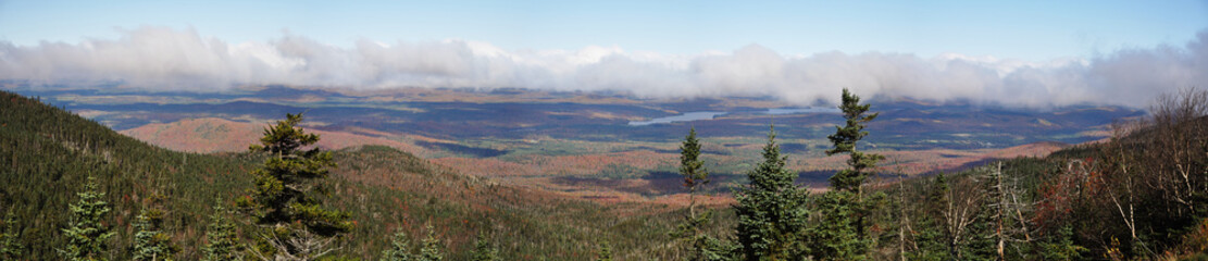 Adirondack Mountains panorama view from top of Whiteface Mountain in fall, New York State, USA.