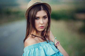 Young beautiful Asian woman in hippy style.