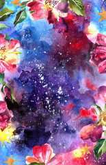 watercolor illustration space and rose