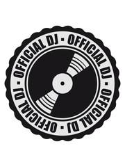 stempel rund kreis platte official dj text auflegen mischpult tanzen party feiern musik club disko cool