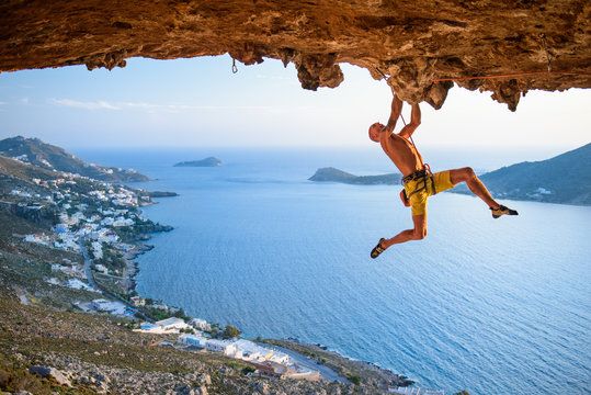 Rock climber at Scenic  Rocks  in beautiful golden light on a sunny day.
