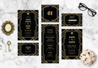 Art Deco Wedding Stationery Layout