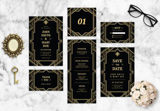 Art Deco Wedding Stationery Layout