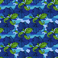 Tropic flowers on the camouflage background. Vector seamless pattern. Camo flower tropical illustration. For your web design,clothes, repeat print, clothing.