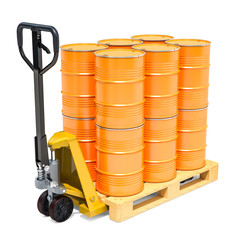 Hydraulic pallet truck with yellow barrels, 3D rendering