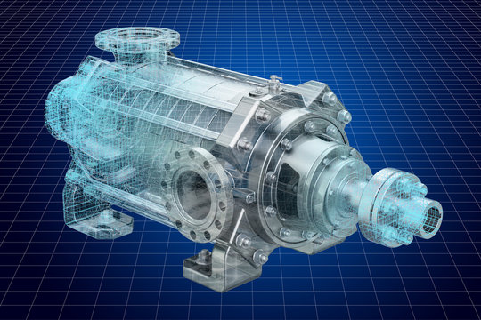 Visualization 3d cad model of centrifugal pump, 3D rendering
