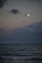 Ocean Sunset and Moon Light