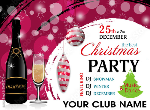 christmas party invitation template with champagne bottle and wineglass red baubles new year background