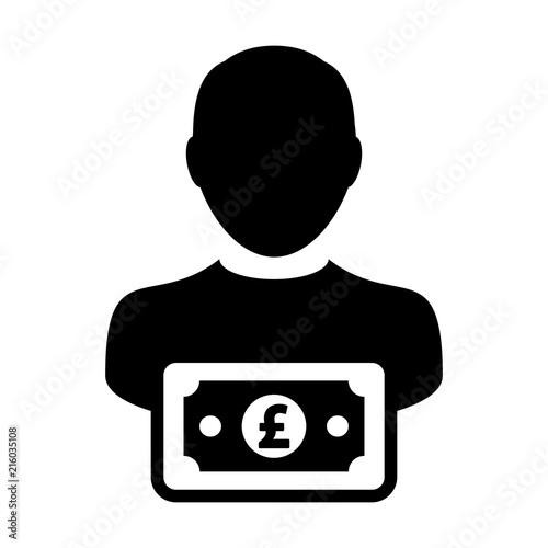 British Pound Sign Icon Vector Male User Person Profile Avatar With