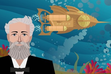 Twenty thousand leagues under the sea nautilus submarine and jules verne writer