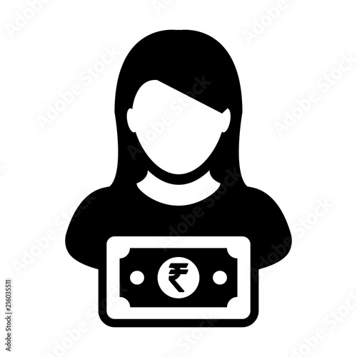 Indian Rupee Symbol Icon Vector Female User Person Profile Avatar