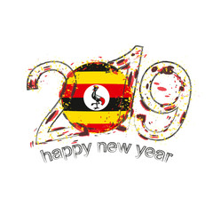 Happy New 2019 Year with flag of Uganda. Holiday grunge vector illustration.
