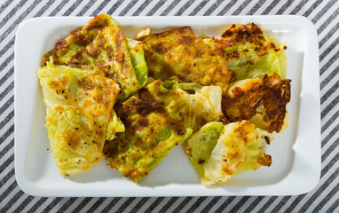 Image of cabbage leaves in batter