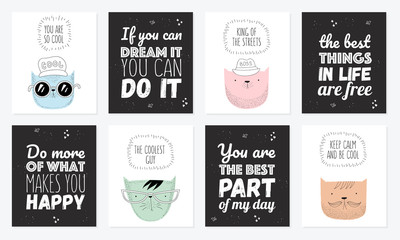 Vector set of postcards with hipster cats and cool slogan