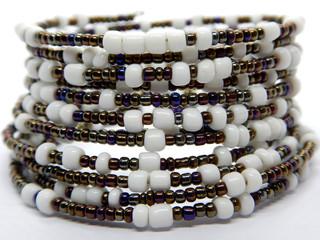 Color bead bracelet close-up, African handmade fashion jewellry