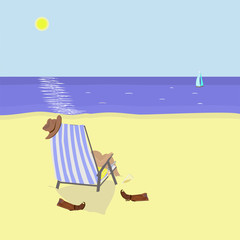 Beach scene. Cowboy relaxing in chaise-longue. Vector illustration