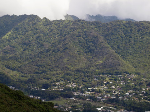 Manoa Valley and Mountains on the Island of Oahu