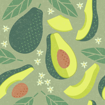 Avocado seamless pattern. Whole and sliced avocado with leaves and flowers on shabby background. Original simple flat illustration. Shabby style.