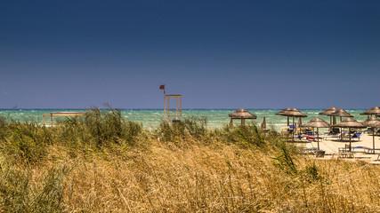 Spiaggia ventosa con ombrelloni in paglia