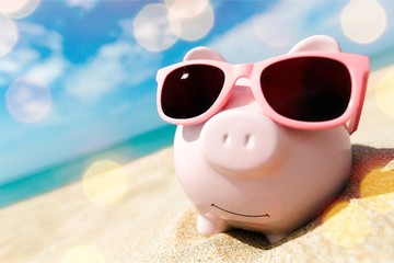 Piggy Bank Wearing Sunglasses Relaxing