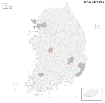 south korea administrative and political vector map
