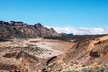 Landscape looks like on a Mars in the Mount Teide National Park , Tenerife