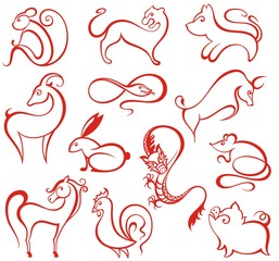Chinese Zodiac icons.
