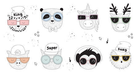 Vector collection of line drawing hipster animals