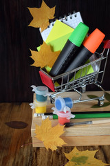 Notebook, stickers, highlighters in a shopping cart. Paints, brushes, pencils and autumn leaves around. Back to school concept