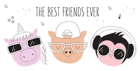 Vector poster with line drawing hipster animals with cool slogan