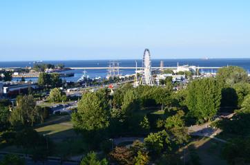 Widok z lotu ptaka na Skwer Kościuszki w Gdyni, Pomorze/Aerial view of Kosciuszko Square in Gdynia, Pomerania, Poland
