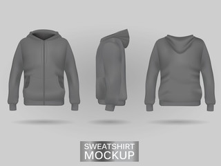 Grey sweatshirt hoodie template in three dimensions: front, side and back view, realistic gradient mesh vector. Clothes for sport and urban style