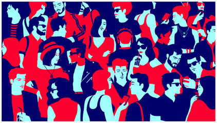 Stylized silhouette of crowd of people, casual mixed group of young adults hanging out, chatting or drinking gathered for nightlife event, simple minimal pop art style flat design vector illustration
