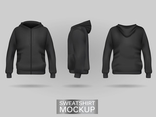 Black sweatshirt hoodie template in three dimensions: front, side and back view, realistic gradient mesh vector. Clothes for sport and urban style