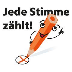 Wahlkreuz mit orangenem Stift - Jede Stimme zählt