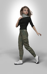 young sportive woman character - 3d rendering