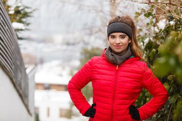 Woman wearing sportswear during winter