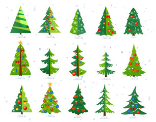 Christmas trees icon set isolated on white background. Cute Christmas trees with toys and snow. New year decorations. Vector ilustration.