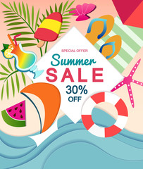 Summer sale design teplate with paper effect and summer elements. Vector illustration.