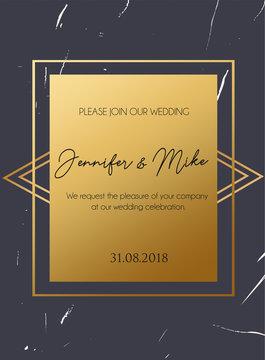 Retro minimalistic design template with grunge effect and gold decorations. Wedding invitation design.