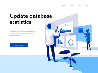 Modern flat vector illustration concept of people making web page design for website and interacting with graphs. Business and workflow management. Creative landing page design template.