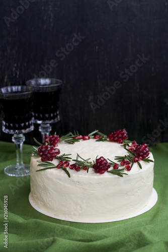 Chocolate Cake With Berry Cream White Cheese Pomegranate Berries And Rosemary Branches Two Glasses Of Red Wine Idea For A Birthday Or
