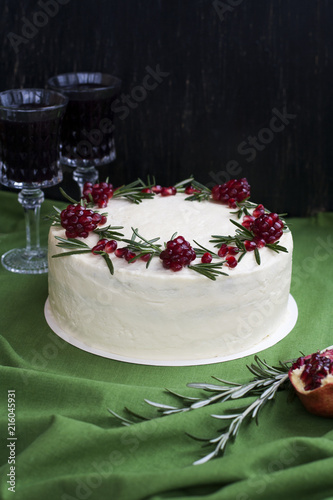 Chocolate Cake With Berry Cream White Cheese Pomegranate Berries And Rosemary Branches